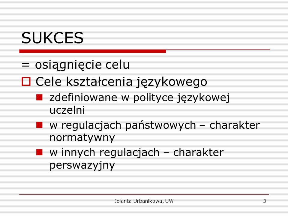 SUKCES = osiągnięcie celu  Cele kształcenia językowego zdefiniowane w polityce językowej uczelni w regulacjach państwowych – charakter normatywny w i