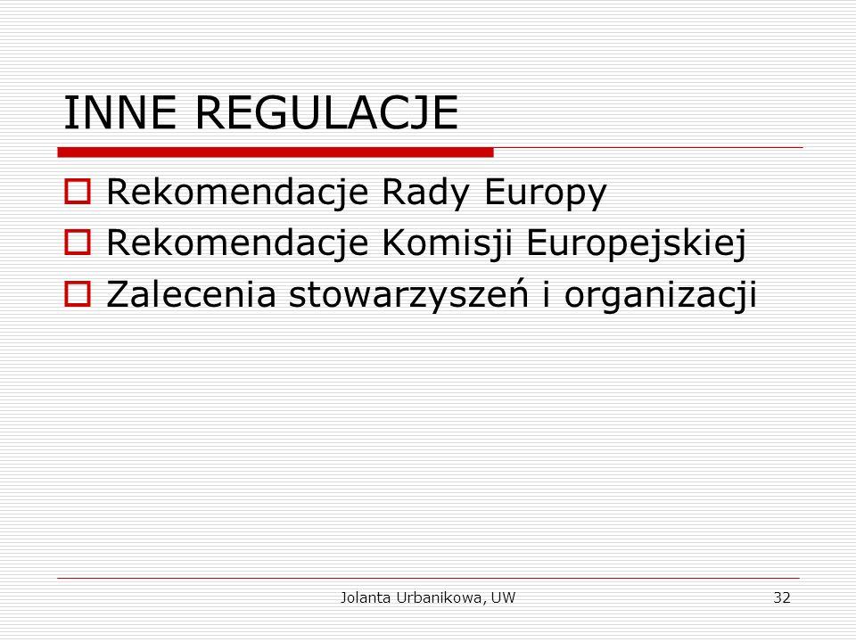 INNE REGULACJE  Rekomendacje Rady Europy  Rekomendacje Komisji Europejskiej  Zalecenia stowarzyszeń i organizacji Jolanta Urbanikowa, UW32