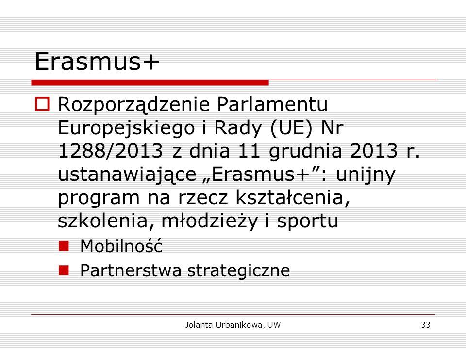 """Erasmus+  Rozporządzenie Parlamentu Europejskiego i Rady (UE) Nr 1288/2013 z dnia 11 grudnia 2013 r. ustanawiające """"Erasmus+"""": unijny program na rzec"""