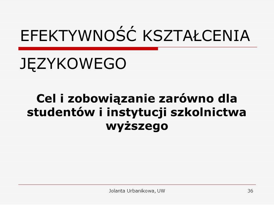 EFEKTYWNOŚĆ KSZTAŁCENIA JĘZYKOWEGO Cel i zobowiązanie zarówno dla studentów i instytucji szkolnictwa wyższego Jolanta Urbanikowa, UW36