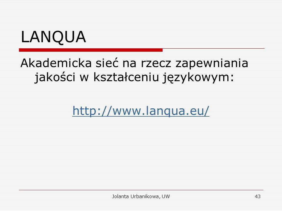 LANQUA Akademicka sieć na rzecz zapewniania jakości w kształceniu językowym: http://www.lanqua.eu/ Jolanta Urbanikowa, UW43