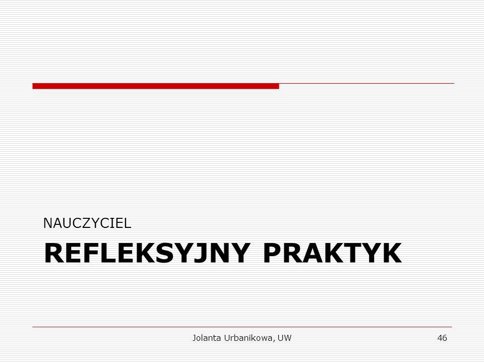REFLEKSYJNY PRAKTYK NAUCZYCIEL Jolanta Urbanikowa, UW46