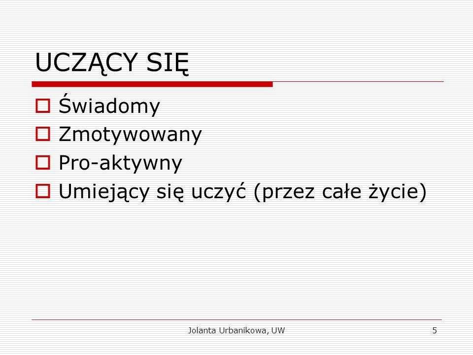 UCZĄCY SIĘ  Świadomy  Zmotywowany  Pro-aktywny  Umiejący się uczyć (przez całe życie) Jolanta Urbanikowa, UW5