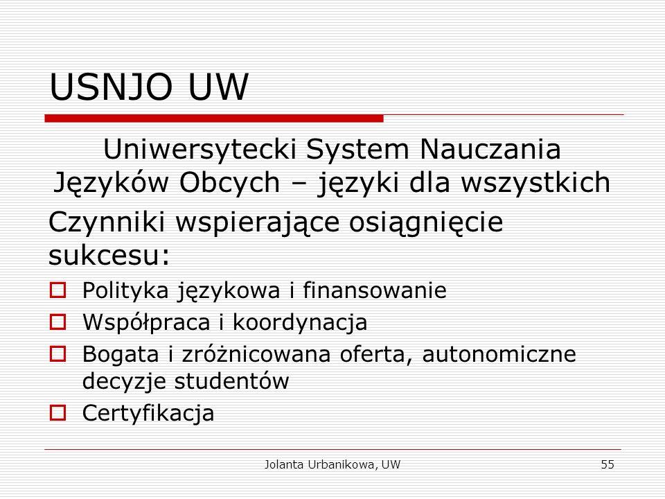 USNJO UW Uniwersytecki System Nauczania Języków Obcych – języki dla wszystkich Czynniki wspierające osiągnięcie sukcesu:  Polityka językowa i finanso
