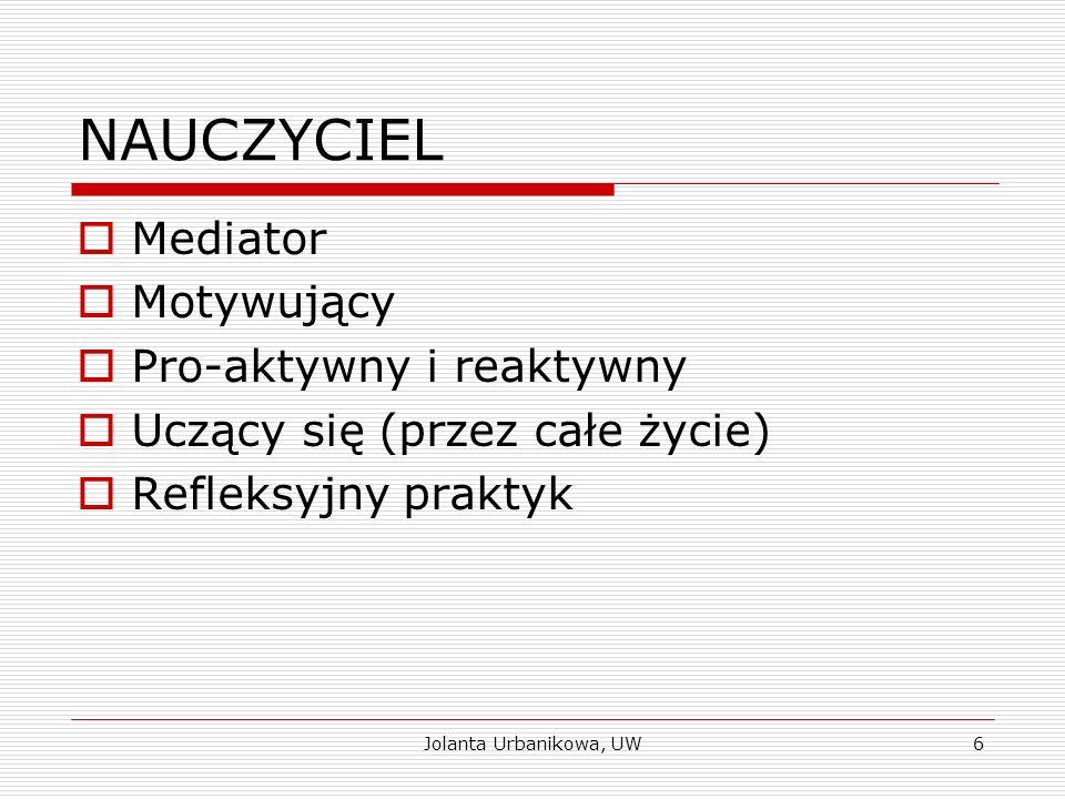 NAUCZYCIEL  Mediator  Motywujący  Pro-aktywny i reaktywny  Uczący się (przez całe życie)  Refleksyjny praktyk Jolanta Urbanikowa, UW6