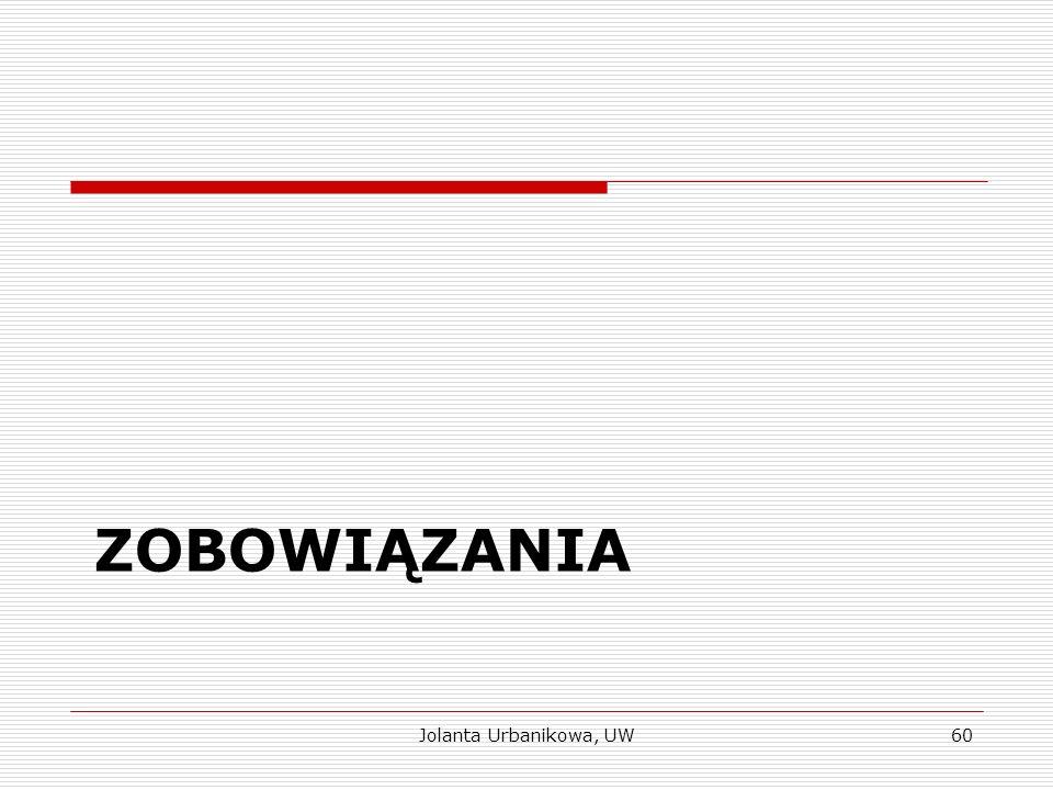 ZOBOWIĄZANIA Jolanta Urbanikowa, UW60