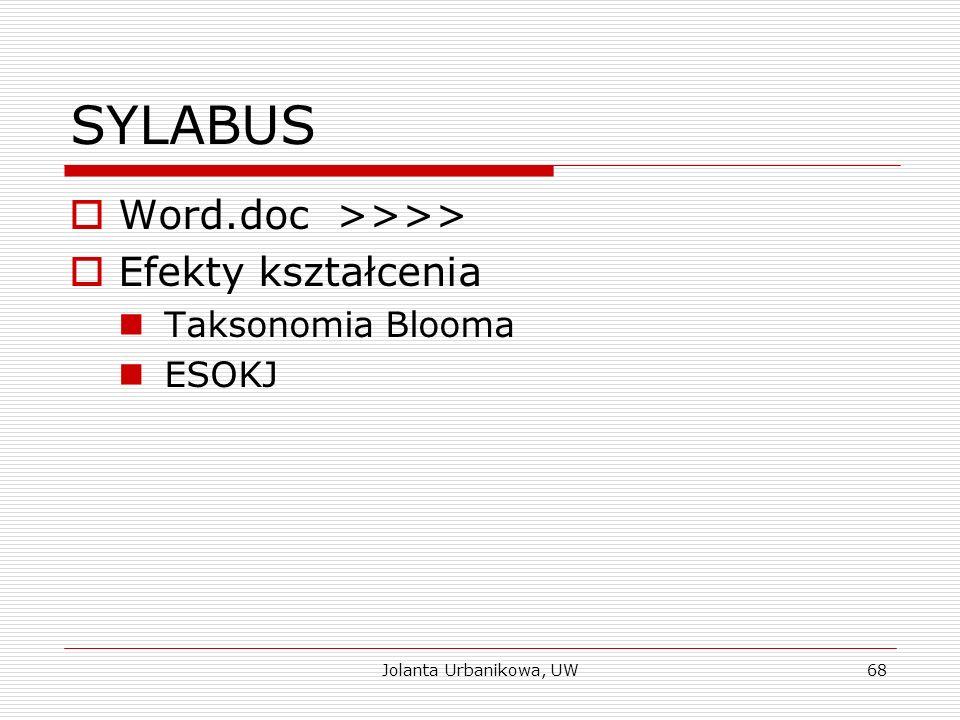 SYLABUS  Word.doc >>>>  Efekty kształcenia Taksonomia Blooma ESOKJ Jolanta Urbanikowa, UW68