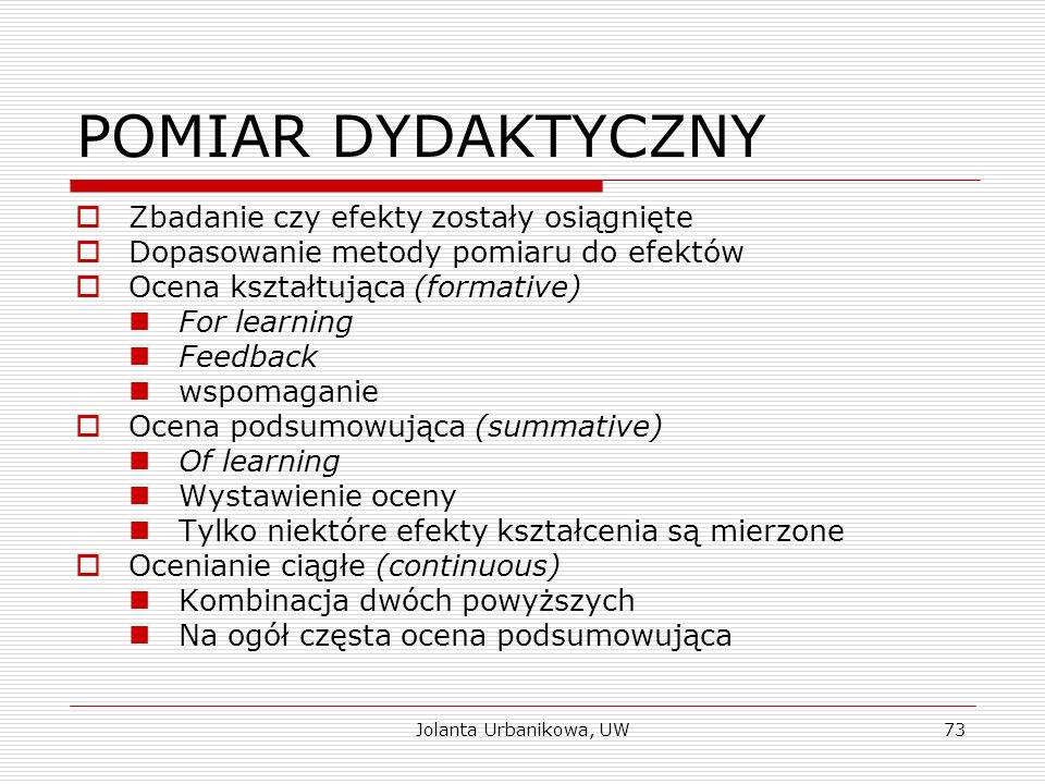 Jolanta Urbanikowa, UW POMIAR DYDAKTYCZNY  Zbadanie czy efekty zostały osiągnięte  Dopasowanie metody pomiaru do efektów  Ocena kształtująca (forma