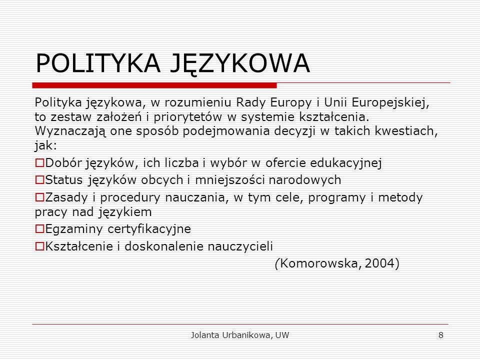 POLITYKA JĘZYKOWA Polityka językowa, w rozumieniu Rady Europy i Unii Europejskiej, to zestaw założeń i priorytetów w systemie kształcenia. Wyznaczają