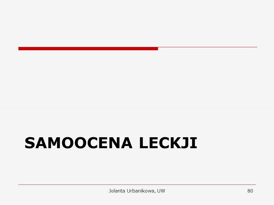 SAMOOCENA LECKJI Jolanta Urbanikowa, UW80