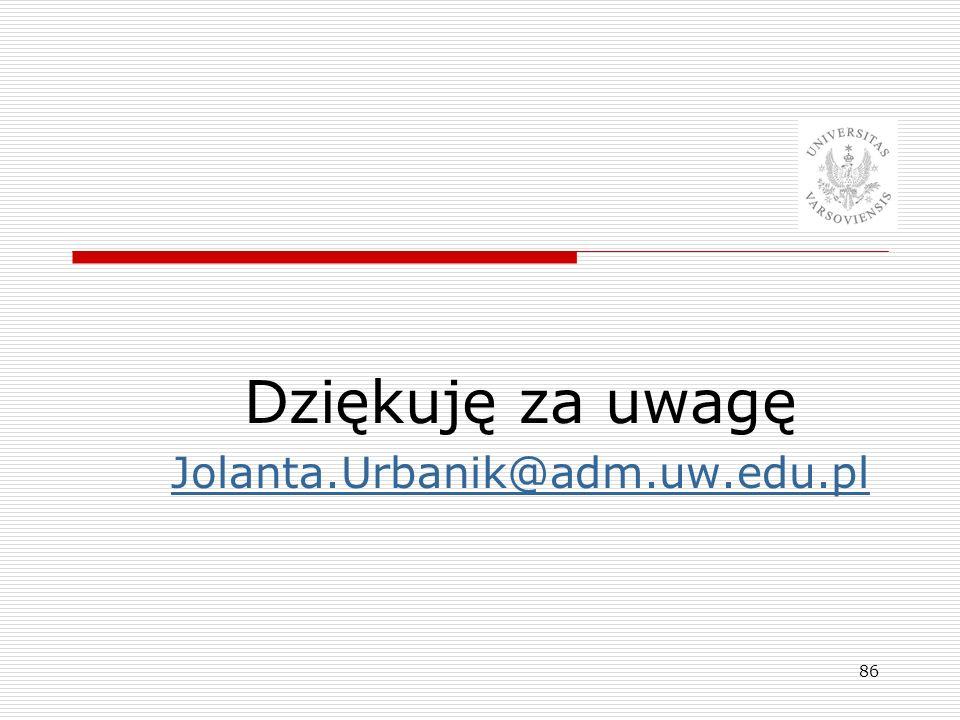 Dziękuję za uwagę Jolanta.Urbanik@adm.uw.edu.pl 86