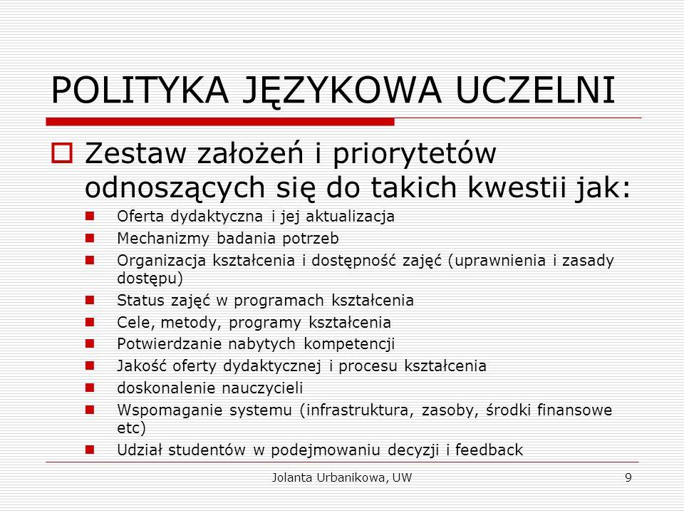 POLITYKA JĘZYKOWA UCZELNI  Zestaw założeń i priorytetów odnoszących się do takich kwestii jak: Oferta dydaktyczna i jej aktualizacja Mechanizmy badan