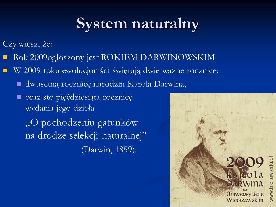 Czy wiesz, że: Rok 2009ogłoszony jest ROKIEM DARWINOWSKIM W 2009 roku ewolucjoniści świętują dwie ważne rocznice: dwusetną rocznicę narodzin Karola Da