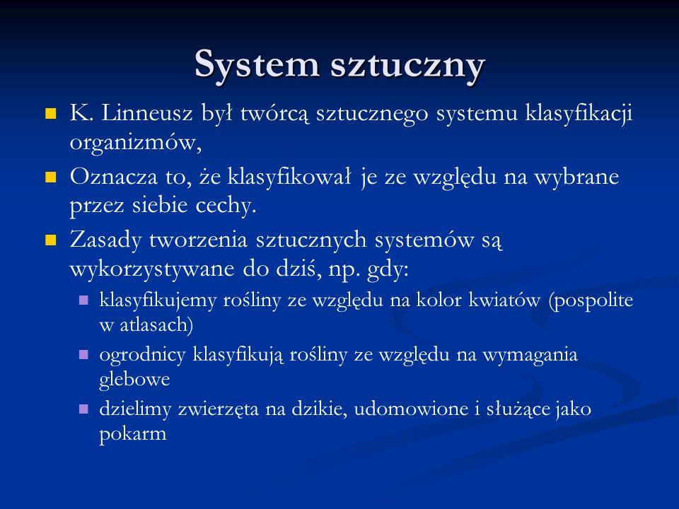 System sztuczny K. Linneusz był twórcą sztucznego systemu klasyfikacji organizmów, Oznacza to, że klasyfikował je ze względu na wybrane przez siebie c