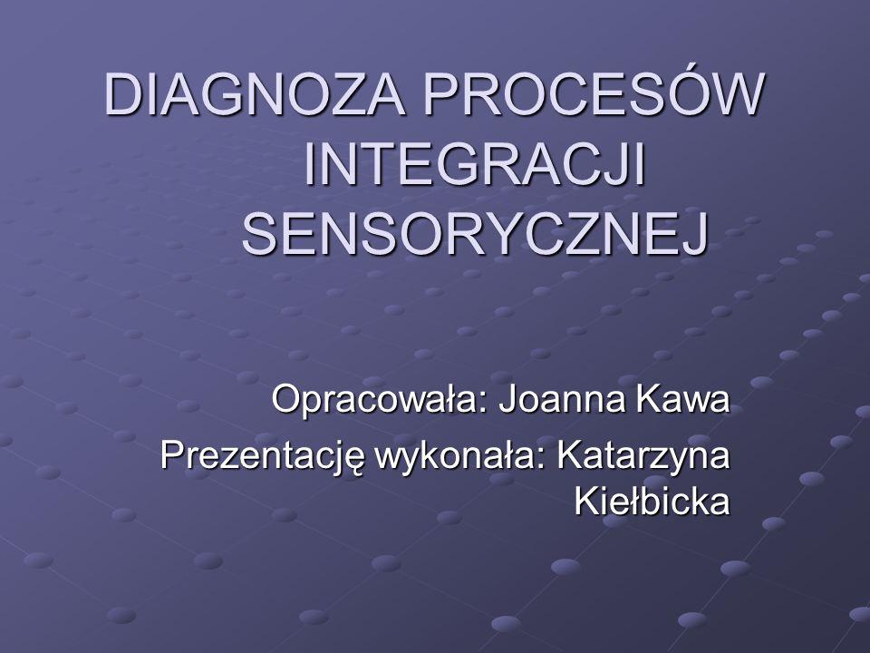 Do diagnozy zaburzeń integracji sensorycznej Ayres opracowała specjalne metody KLINICZNA OBSERWACJA -Napięcie mięśniowe -Przetrwałe odruchy -Ruchy gałek ocznych -Planowanie ruchu -Reakcje posturalne -Kokontrakcję -Lateralizację -Choreoatetozy -Reakcje równoważne -Orietację w przestrzeni -adiadochokinezę STANDARYZOWANE TESTY -Percepcji wzrokowej ( różnicowanie figura-tło, pozycja w przestrzeni, kopiowanie wzorów) -Somatosensoryczne (kinestezja, manualna percepcja form, identyfikacja palców, grafestezja, lokalizacja bodźca dotykowego) -Motoryczne (precyzja ruchów, imitacja pozycji, przekraczanie linii środkowej ciała, obustronna koordynacja ruchowa, różnicowanie prawo-lewo, równowaga w pozycji stojącej-oczy otwarte, oczy zamknięte, oczopląs porotacyjny)