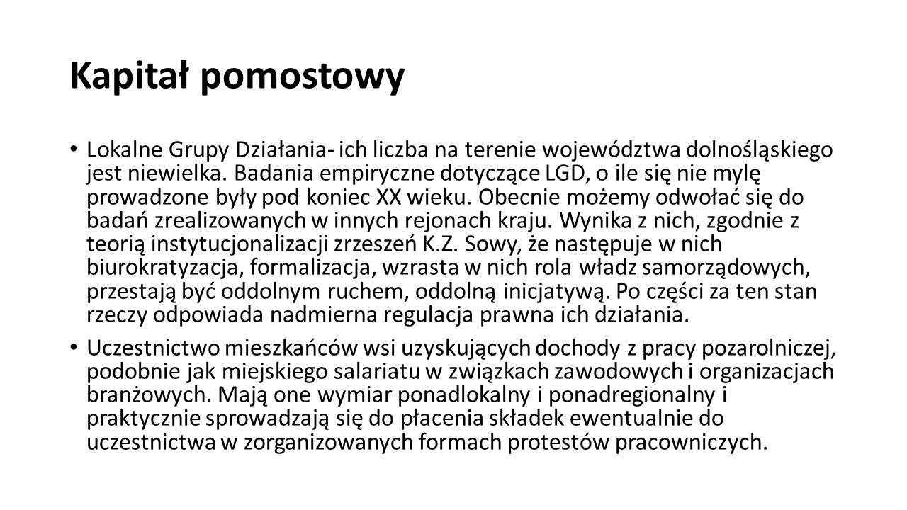 Kapitał pomostowy Lokalne Grupy Działania- ich liczba na terenie województwa dolnośląskiego jest niewielka. Badania empiryczne dotyczące LGD, o ile si