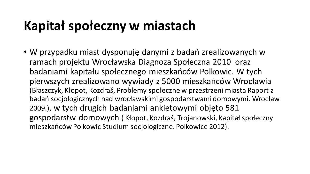 Kapitał społeczny w miastach W przypadku miast dysponuję danymi z badań zrealizowanych w ramach projektu Wrocławska Diagnoza Społeczna 2010 oraz badaniami kapitału społecznego mieszkańców Polkowic.