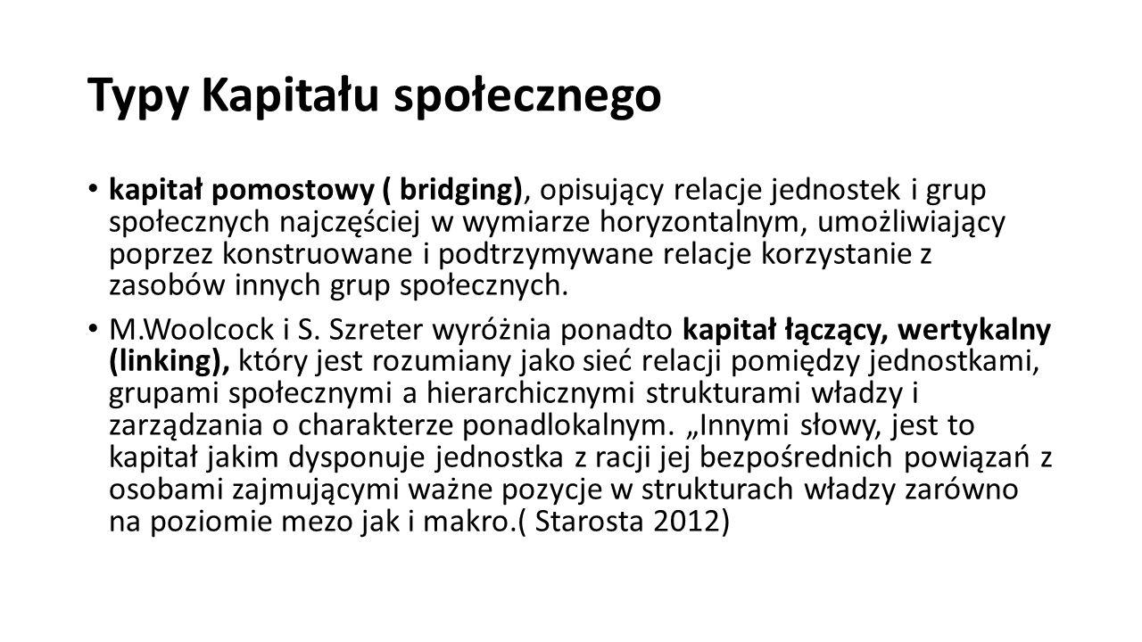 Typy Kapitału społecznego kapitał pomostowy ( bridging), opisujący relacje jednostek i grup społecznych najczęściej w wymiarze horyzontalnym, umożliwiający poprzez konstruowane i podtrzymywane relacje korzystanie z zasobów innych grup społecznych.