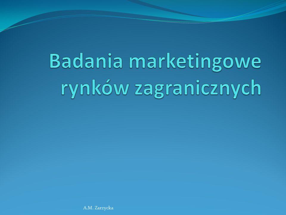 Zapotrzebowanie na informacje o rynkach zagranicznych 1) Faza wchodzenia na rynki zagraniczne 2) Faza kształtowania programów marketingowych 3) Faza działalności na wielu rynkach zagranicznych, zbliżanie się do etapu globalizacji A.M.