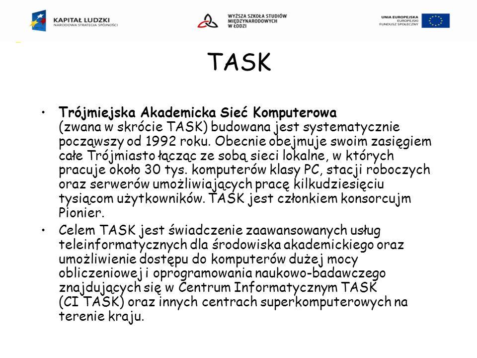TASK Trójmiejska Akademicka Sieć Komputerowa (zwana w skrócie TASK) budowana jest systematycznie począwszy od 1992 roku.