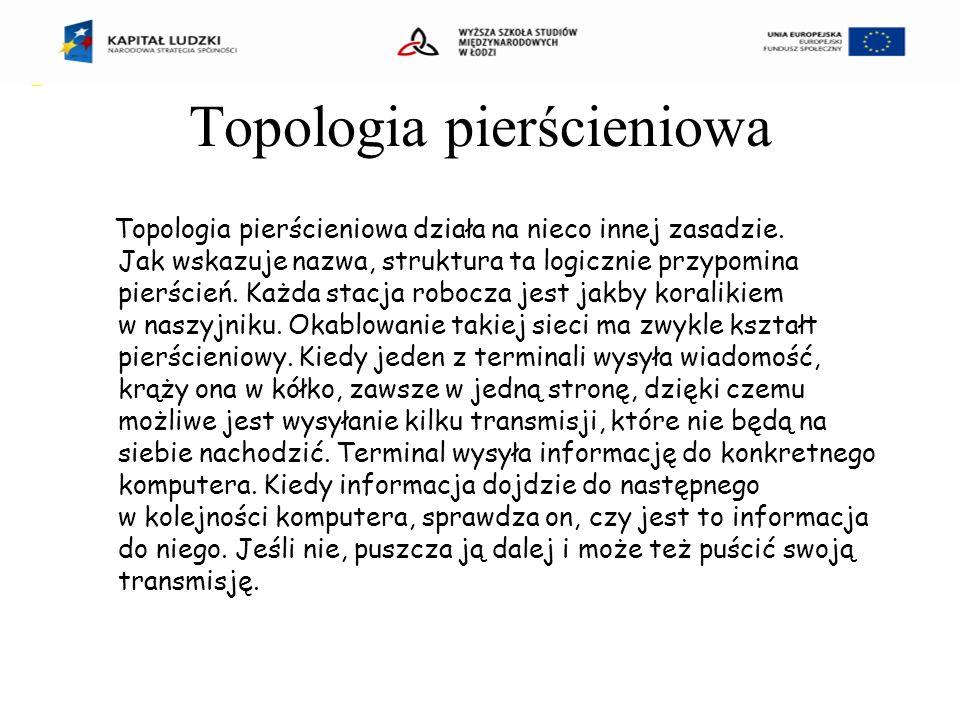 Topologia pierścieniowa Topologia pierścieniowa działa na nieco innej zasadzie.