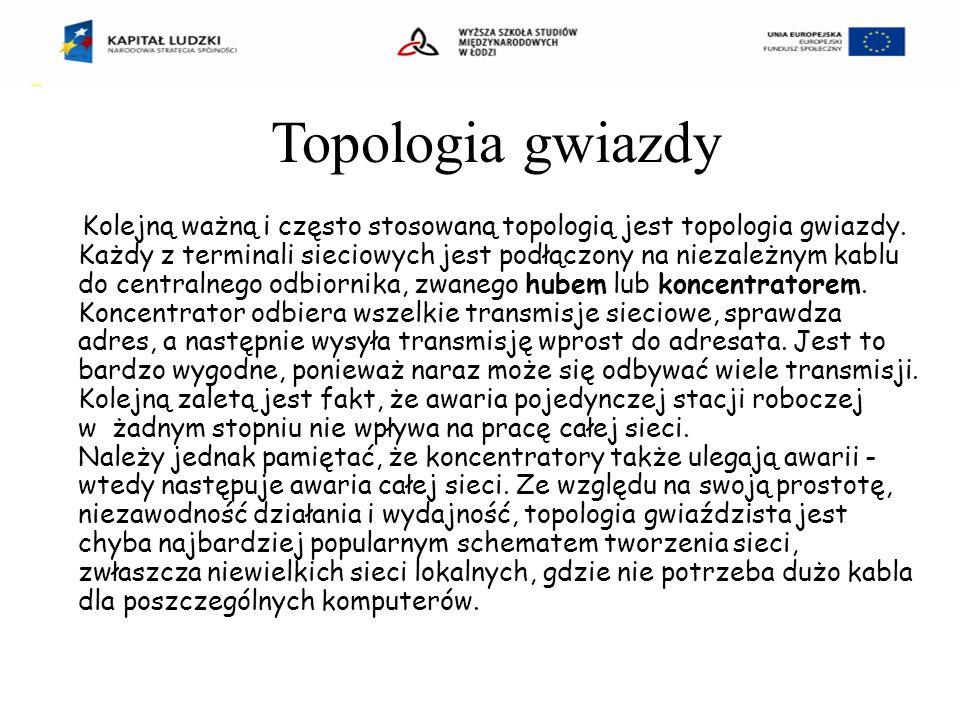 Kolejną ważną i często stosowaną topologią jest topologia gwiazdy.