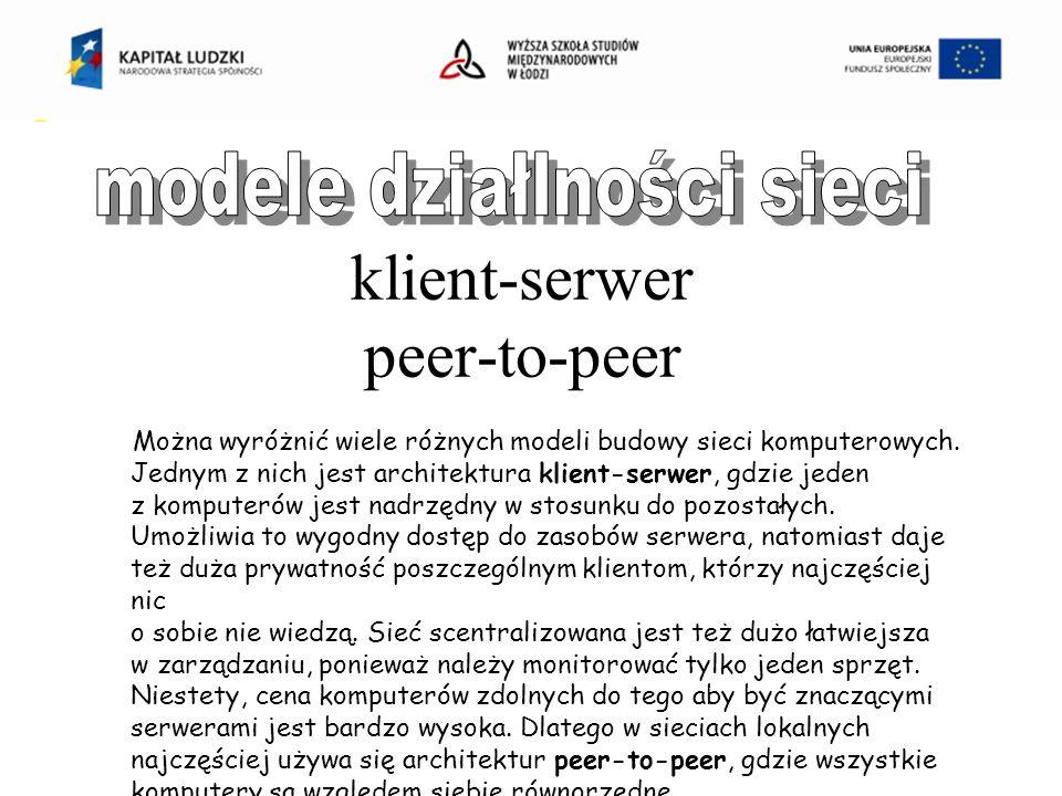 klient-serwer peer-to-peer Można wyróżnić wiele różnych modeli budowy sieci komputerowych.