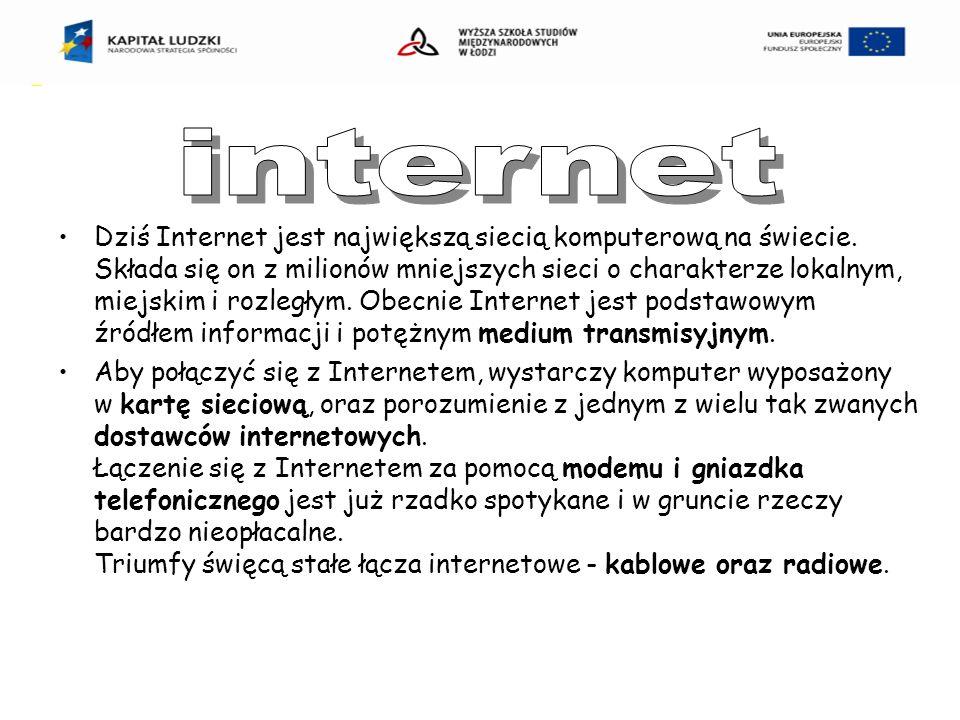 Dziś Internet jest największą siecią komputerową na świecie.