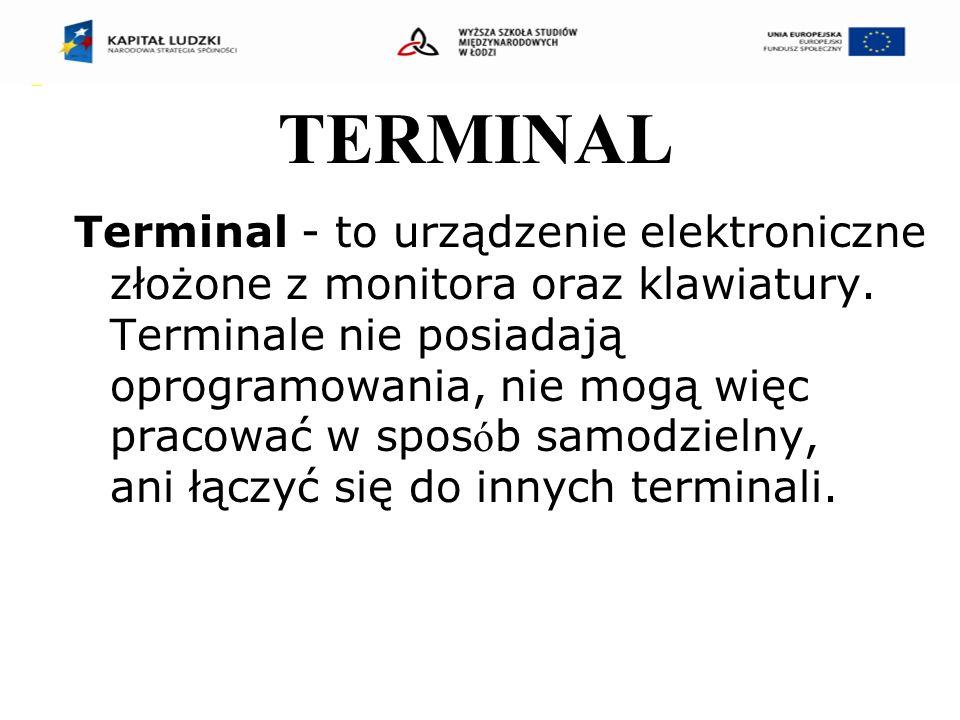 TERMINAL Terminal - to urządzenie elektroniczne złożone z monitora oraz klawiatury.