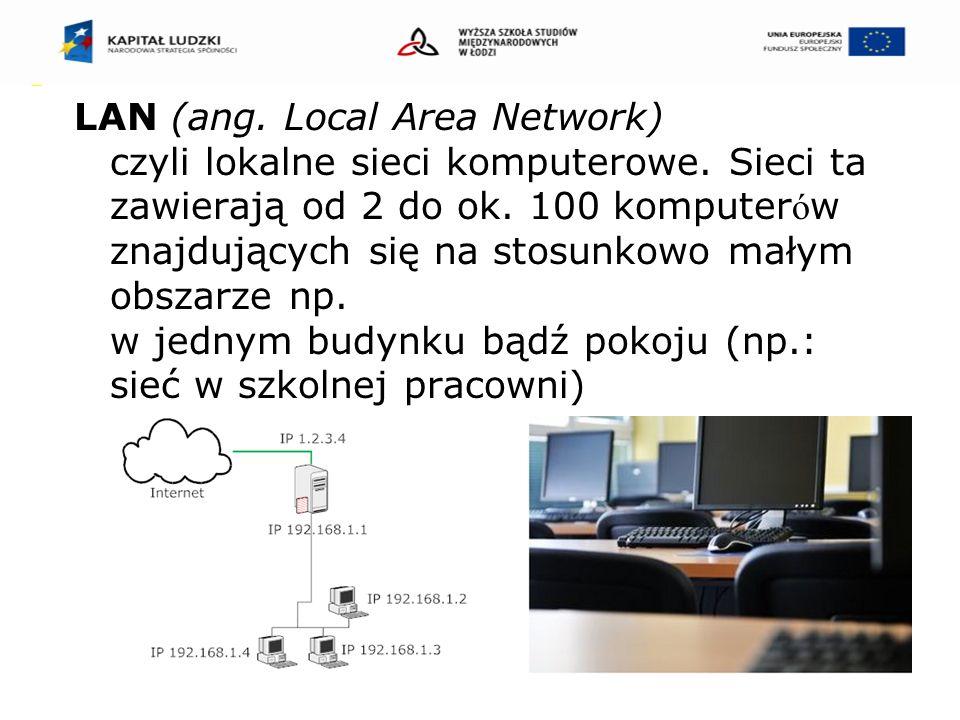 WAN (ang.Wide Area Network) czyli rozległe sieci komputerowe.