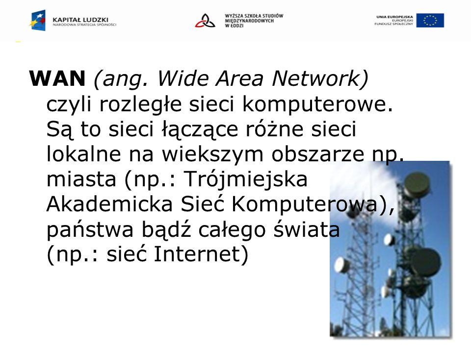 WAN (ang. Wide Area Network) czyli rozległe sieci komputerowe.