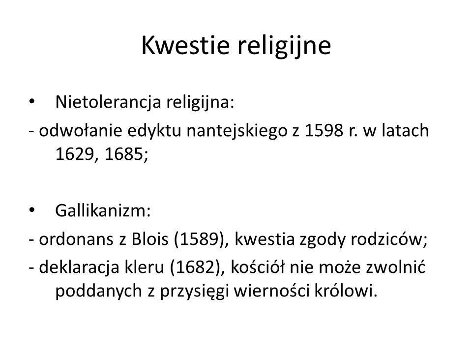 Kwestie religijne Nietolerancja religijna: - odwołanie edyktu nantejskiego z 1598 r.