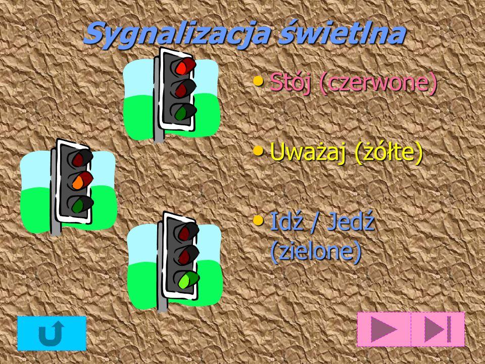 Sygnalizacja świetlna Stój (czerwone) Stój (czerwone) Uważaj (żółte) Uważaj (żółte) Idź / Jedź (zielone) Idź / Jedź (zielone)