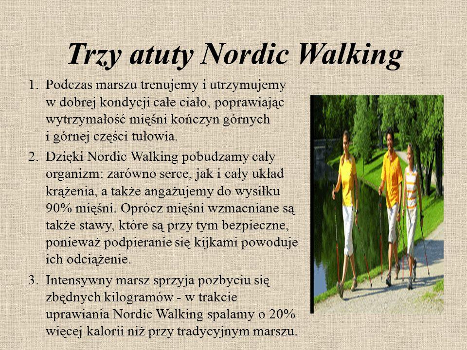 Trzy atuty Nordic Walking 1.Podczas marszu trenujemy i utrzymujemy w dobrej kondycji całe ciało, poprawiając wytrzymałość mięśni kończyn górnych i gór