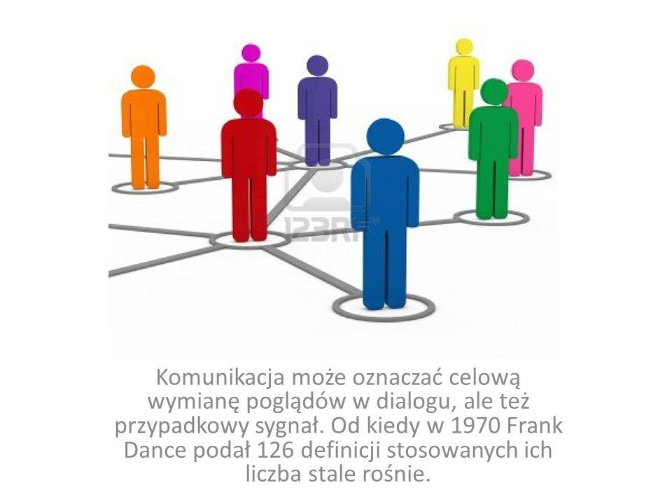 Komunikacja może oznaczać celową wymianę poglądów w dialogu, ale też przypadkowy sygnał. Od kiedy w 1970 Frank Dance podał 126 definicji stosowanych i