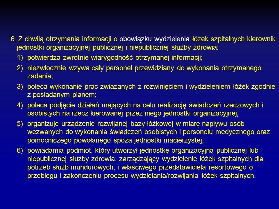 5. W przypadku otrzymania informacji o obowiązku realizacji przedsięwzięć przygotowawczych w zakresie wydzielenia łóżek szpitalnych kierownik jednostk