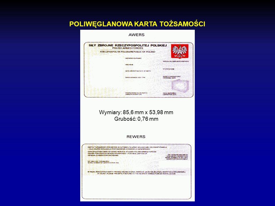 Dokument zawierający dane personalne niezbędne do ustalenia, w jakim charakterze posiadacz karty jest uprawniony do korzystania z ochrony przewidzianej w Konwencji Genewskiej oraz spełniającej wymogi karty identyfikacyjnej przewidzianej w Umowie Traktatu Północnoatlantyckiego Kolory kart: zielony żółty niebieski KARTA TOŻSAMOŚCI