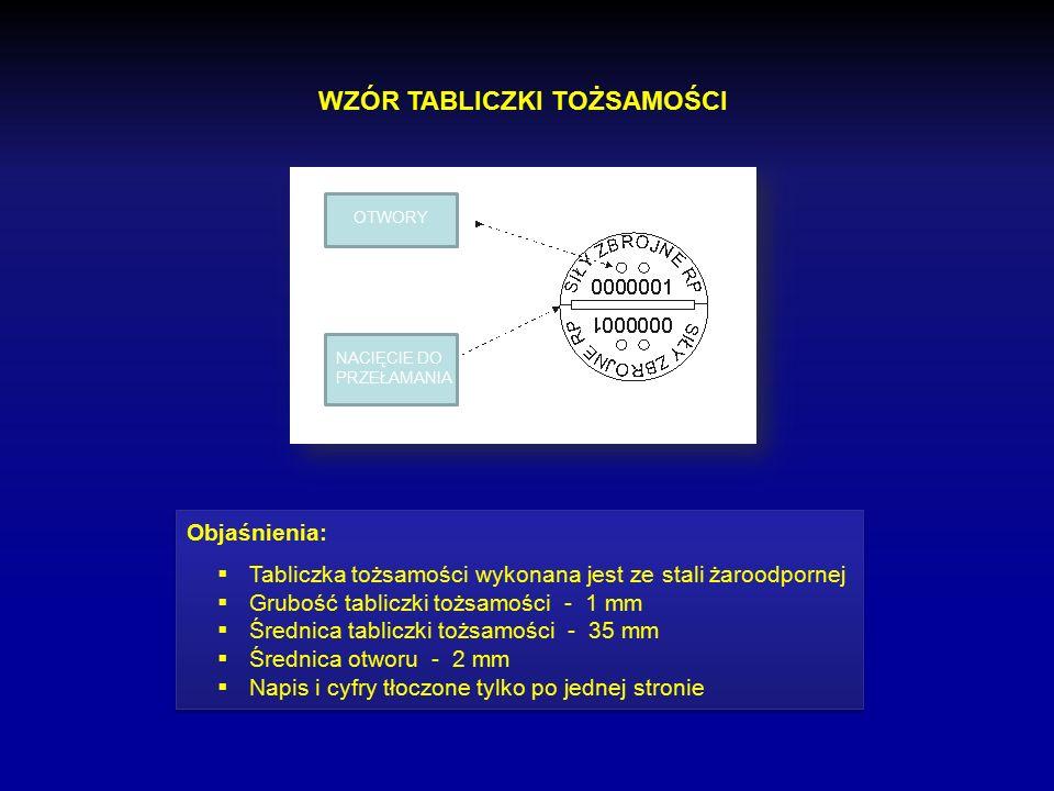 TABLICZKA TOŻSAMOŚCI Znak identyfikacyjny wydawany żołnierzowi lub osobie cywilnej wykonany ze stali żaroodpornej, zawierający numer ewidencyjny umożl