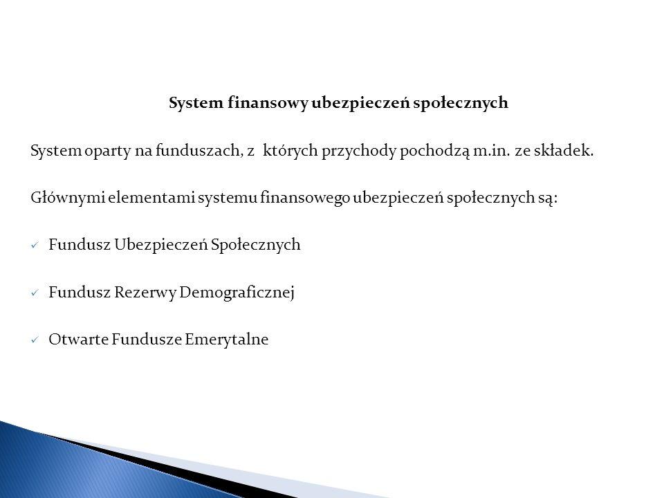System finansowy ubezpieczeń społecznych System oparty na funduszach, z których przychody pochodzą m.in.