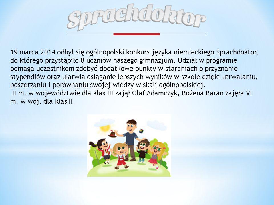 19 marca 2014 odbył się ogólnopolski konkurs języka niemieckiego Sprachdoktor, do którego przystąpiło 8 uczniów naszego gimnazjum. Udział w programie