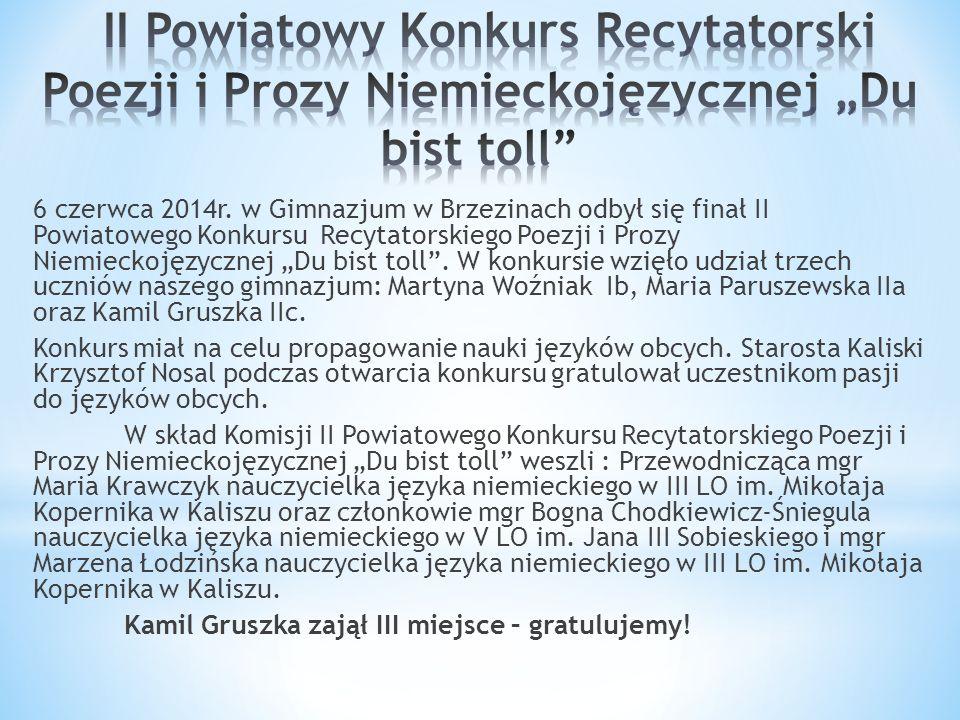 """6 czerwca 2014r. w Gimnazjum w Brzezinach odbył się finał II Powiatowego Konkursu Recytatorskiego Poezji i Prozy Niemieckojęzycznej """"Du bist toll"""". W"""