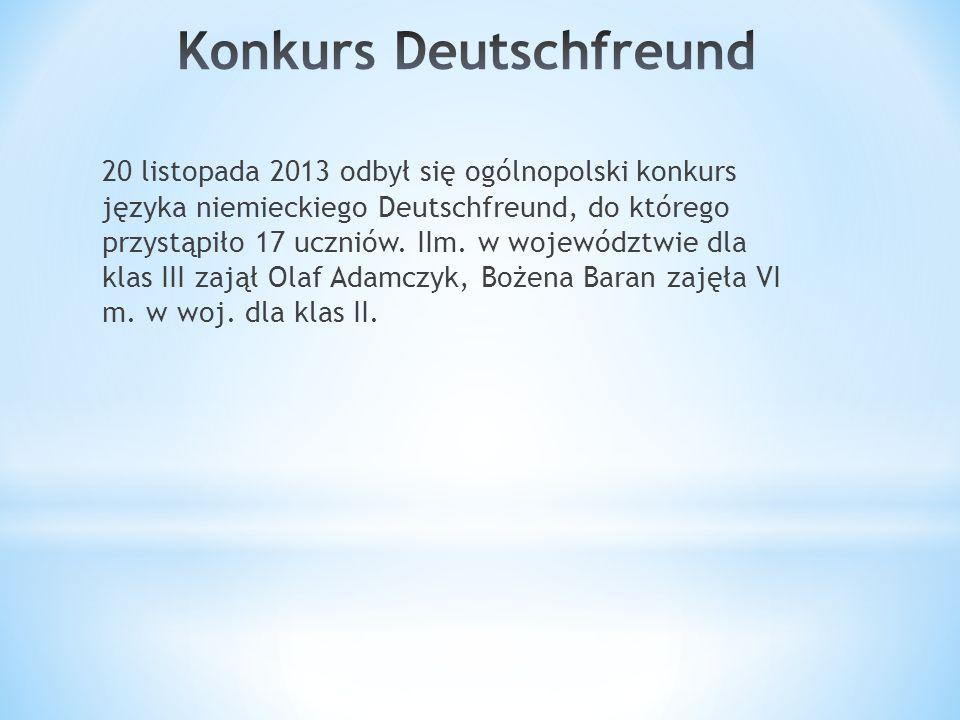 20 listopada 2013 odbył się ogólnopolski konkurs języka niemieckiego Deutschfreund, do którego przystąpiło 17 uczniów.