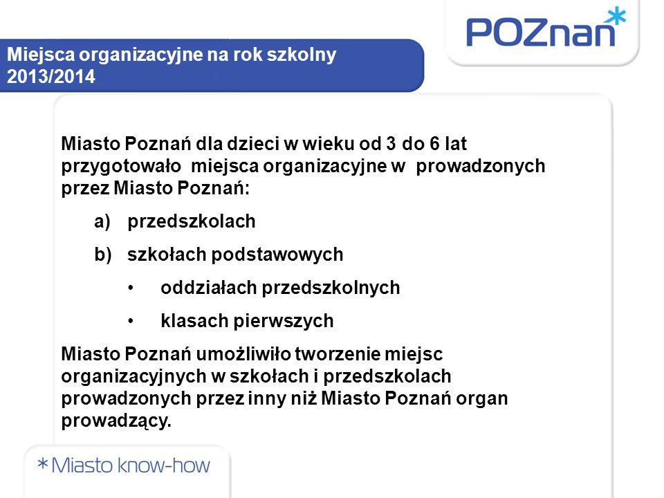 Miejsca organizacyjne na rok szkolny 2013/2014 Liczba przedszkoli prowadzących nabór na rok szkolny 2013/2014 Miasto Poznań jest organem prowadzącym: 116 przedszkoli – 13 407 miejsca.