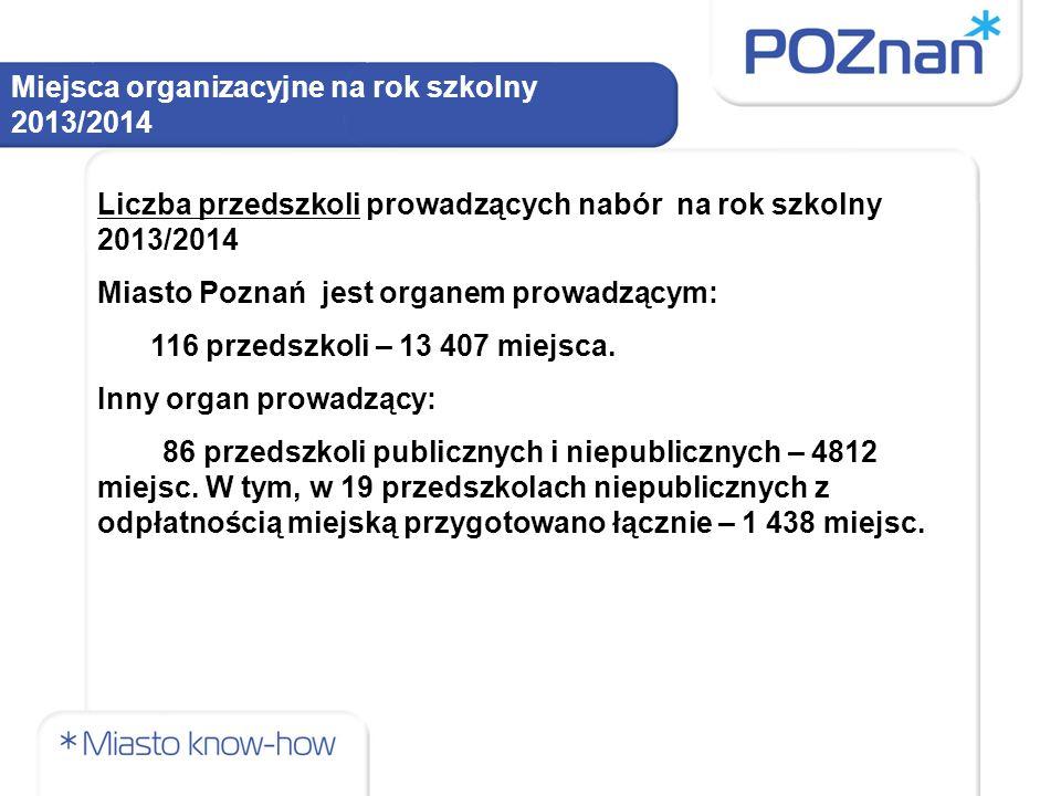 Miejsca organizacyjne na rok szkolny 2013/2014 Liczba przedszkoli prowadzących nabór na rok szkolny 2013/2014 Miasto Poznań jest organem prowadzącym: