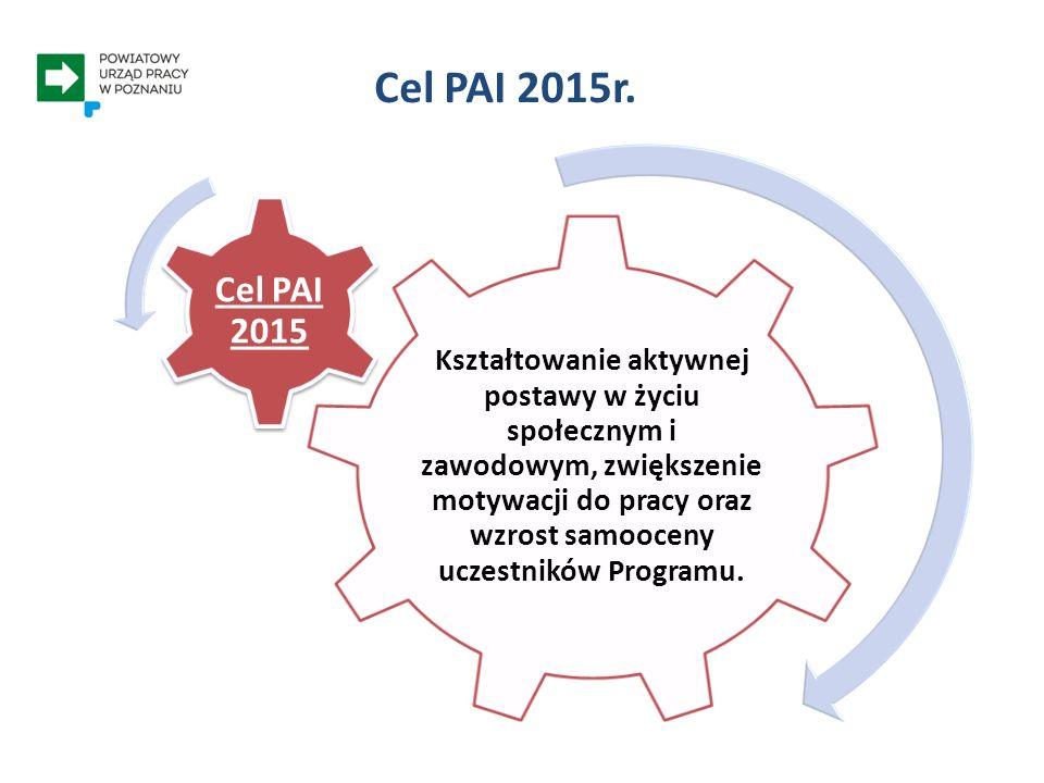 Kształtowanie aktywnej postawy w życiu społecznym i zawodowym, zwiększenie motywacji do pracy oraz wzrost samooceny uczestników Programu. Cel PAI 2015