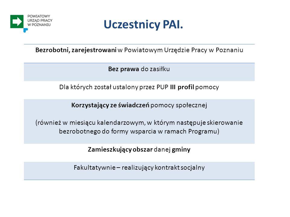 Uczestnictwo w PAI – a profil pomocy PROFIL III - eliminujący oddalenie - pomoc psychologa lub trenera - wsparcie z pomocy społecznej - współpraca z agencjami zatrudnienia - wsparcie w zakresie realizacji programu specjalnego PUP - PAI ODDALENI OD RYNKU PRACY PROFIL II - skoncentrowany na wsparciu - zdobycie kwalifikacji i doświadczenia - dopasowanie oferty pracy WYMAGAJĄCY WSPARCIA PROFIL I - oparty na aktywności - dopasowanie oferty pracy AKTYWNI