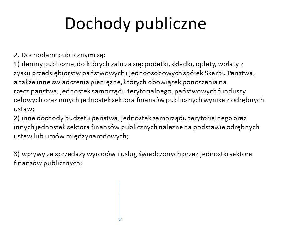 2. Dochodami publicznymi są: 1) daniny publiczne, do których zalicza się: podatki, składki, opłaty, wpłaty z zysku przedsiębiorstw państwowych i jedno