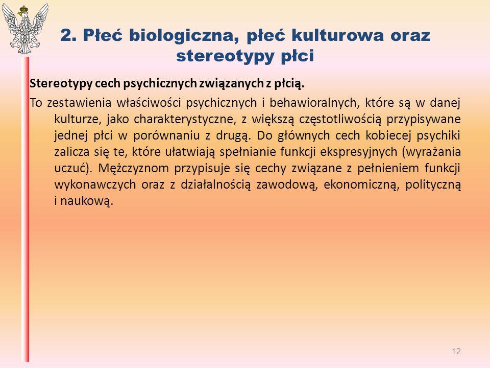 2. Płeć biologiczna, płeć kulturowa oraz stereotypy płci Stereotypy cech psychicznych związanych z płcią. To zestawienia właściwości psychicznych i be