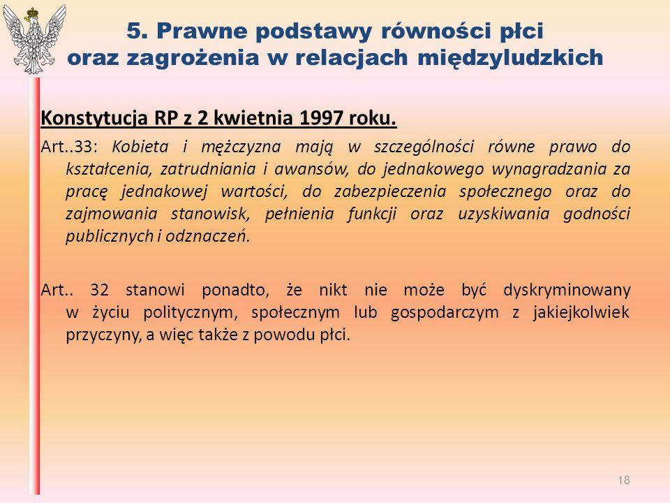 5. Prawne podstawy równości płci oraz zagrożenia w relacjach międzyludzkich Konstytucja RP z 2 kwietnia 1997 roku. Art..33: Kobieta i mężczyzna mają w