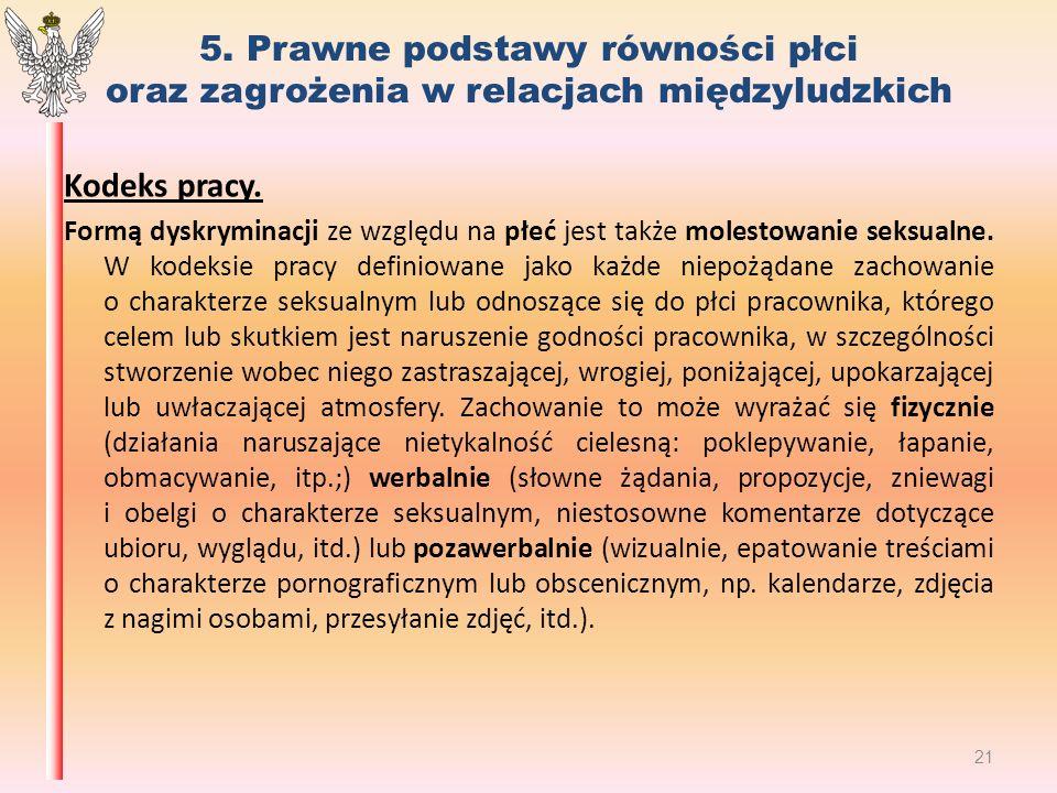 5. Prawne podstawy równości płci oraz zagrożenia w relacjach międzyludzkich Kodeks pracy.